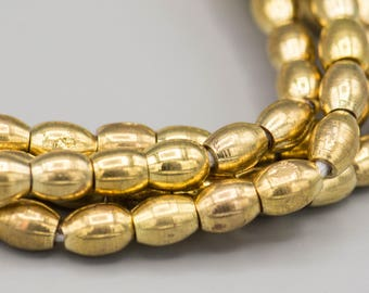 88 Brass Barrel Bead 7x6mm with 2mm Hole