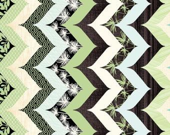 Green Zen Chevron Stripe Cotton fabric