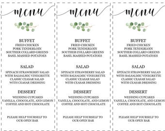 Menu Cards/ Eucalyptus Suite/ Wedding Decor/ Wedding Menu/ Table Setting for Weddings
