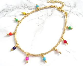 Multicolor anklet bracelet, bohemian anklet, boho chic anklet, simple minimalist anklet, gold beaded anklet, colorful festival foot jewelry