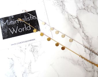 Minimalist coins charm bracelet, dainty chain circle bracelet, simple adjustable boho coin bracelet, gold coin bracelet, disc bracelet