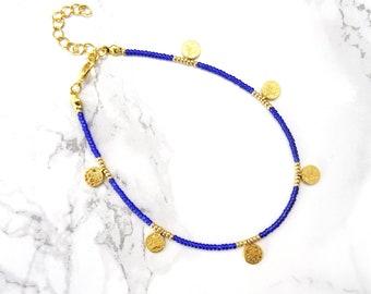 Simple beaded anklet bracelet gold coin bohemian anklet boho beach anklet minimalist dainty anklet bracelet everyday adjustable anklet