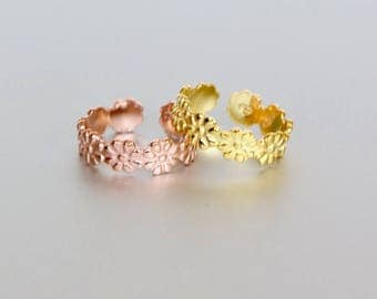 Daisy Toe Rings Set, Gold And Rose Gold Toe Ring, Simple And Pretty Toe Band, Minimalist Toe Ring, Boho Style,Gufta Foe Her, (TS28P/G)