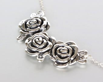 Silver Rose Necklace, Valentines Gift, Silver Necklace, Silver Chain Necklace, Rose Necklace,  Bohemian Necklace, (NS23)