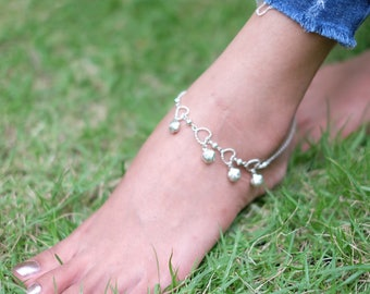 Sterling Silver Anklet, Silver Anklet  Rose And Hearts Charm,Rolo Silver Chain,Delicate Anklet, Silver Foot Chain, Anklet,(AS 30)