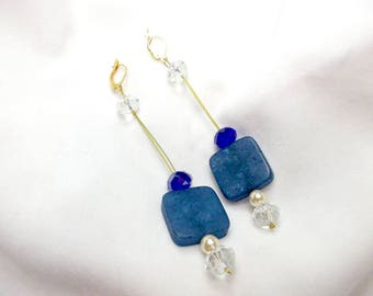 Handmade earrings, blue opal-shaped stone and crystals