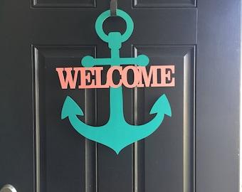Personalizable Welcome anchor door sign