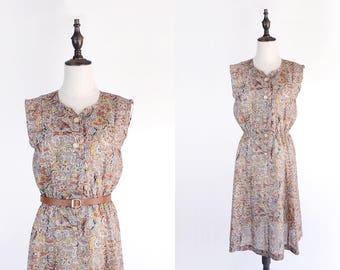 Graphic Flower Print V Neck Sleeveless Kaki Green Vintage Women Dress Size M