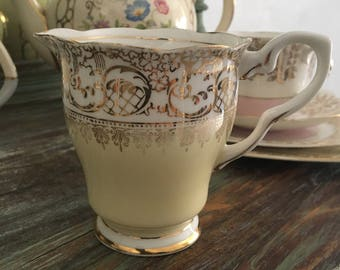 Sweet royal stafford lemon and gold chitz creamer / lemon creamer / royal stafford china milk jug
