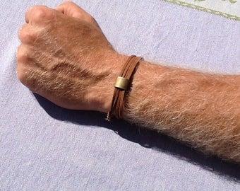 Brown suede with bronze bracelet