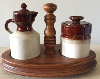 Vintage Sugar and Creamer Set with Wood Stand
