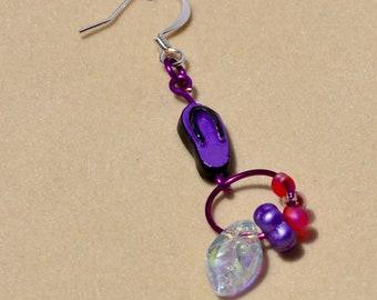 Flip flop earrings  (purple)