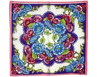 Vintage Handkerchief, Morning Glory, Morning Glories, Floral Handkerchief, Flower Handkerchief , Pink Blue Purple