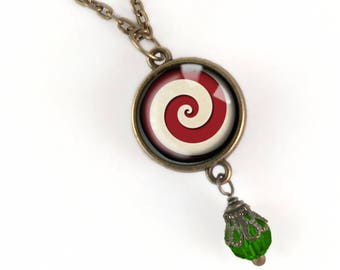 Peppermint Swirl Holiday Necklace in Traditional Christmas colors