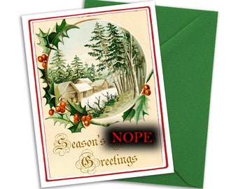 Victorian Christmas card with profanity-Swear Word Christmas Card- Curse word Christmas Card- Seasons Bleeping Greetings- Blank A2 Note Card