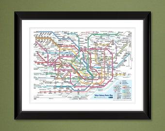Tokyo Metro Subway Map (12x16 Heavyweight Art Print)