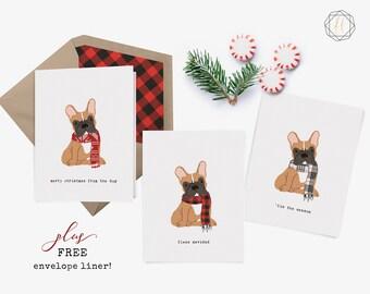 French Bulldog, Frenchie, French Bulldog Card, French Bulldog Christmas, French Bulldog Print, Dog Lover Gift, Frenchie Christmas Card
