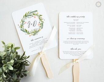 Wedding Program Fan, Wedding Program, Order of Service, Ceremony Program, Wedding Timeline, Program Timeline, Floral Wedding Program, #GPW