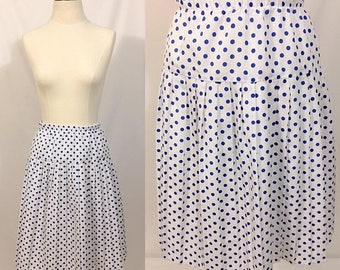 Back to School Sale 1980s Polka Dot Print Skirt, Pleated skirt, Fit and Flair Skirt