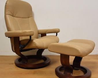 Ekornes Stressless Recliner Lounge Chair and Ottoman