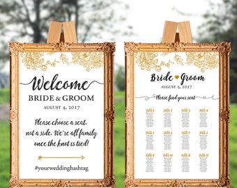 Wedding welcome sign and seating chart - wedding ceremony sign - choose a seat not a side - PRINTABLE - 16x20 - 18x24 - 20x30 - 24x36