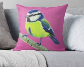 Blue Tit scatter sofa cushion | pink bird lover scatter sofa cushion | bird lover throw pillow | bird lover cushion