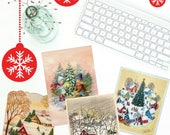 Printable Christmas Cards featuring Vintage Cards, Set of 4 Digital Christmas Cards, PDF, A2 Blank Greeting Cards