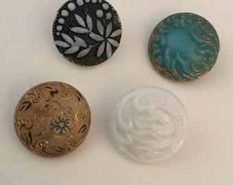 Lot 4 Antique Glass Victorian Buttons Gold Embellishments Beige Turquoise Milk