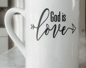 God is Love Coffee Mug, Coffee Mugs, Mug, Ceramic Coffee Mug, Ceramic Mugs, Mugs, Religious Coffee Mugs, Coffee Cup, Coffee Mug Gift, faith