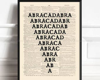 Abracadabra, Unique Gift, Magic And Occult, Gothic Home Decor, Gift for Him to 10, Minimalistic Poster, Funny Office Art, Home Office  214