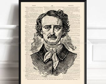 Edgar Poe Print, Boyfriend Gift, Poe Print Art, Gothic Literature, Edgar Allan Poe, Xmas Poster Gift, Gift For Her Print, Book Wall 036