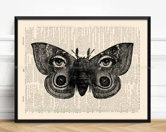 Moths Wings, Gift For Introvert, Geeky Anniversary, Cool Cubicle Decor, Just Engaged Gift 30th Birthday Print Big Sisters Gift Whimsical 080