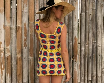 Colourful crochet dress Dasha, crochet dresses, knitted dresses
