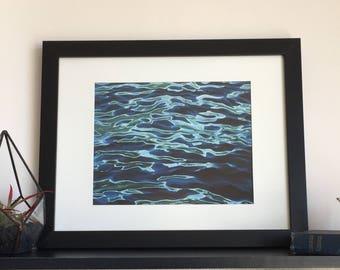 Ocean painting print, Beach décor, Home décor wall art, Ocean art wave, Ocean art print, Beach wall art, Bathroom wall décor, Fine art print