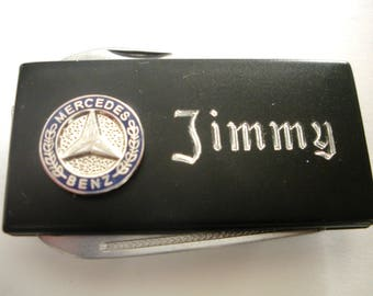 Mercedes Benz Black Matte Money Clip with Pen Knife & Nailfile in Body of Clip-Free Engraving