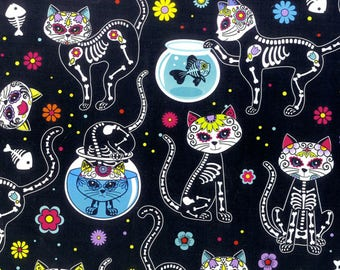 Day of the Dead Kitty Quilting Cotton from Timeless Treasures  C4159-BLK Cattitude black skeletons 44 inch fabric by the yard or metre