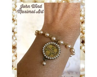 "SALE Vintage Maximal Collectible Handcrafted Jewelry / Handcrafted Bracelet With Coin Char ""Grandma"" / John Wind from Maximal Art"