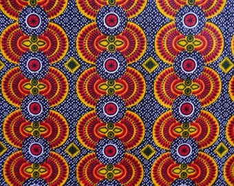 Tribal Pattern African Wax Print Cotton In Navy Yellow Red