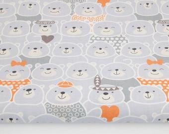 100% cotton fabric printed 50 x 160 cm, Indian orange bear