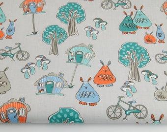 Tissu animals , 100% coton imprimé 50 x 160 cm,  forêt, automne, fond blanc , Cotton Fabric, Fabric,Baby Fabric , Animals Fabric