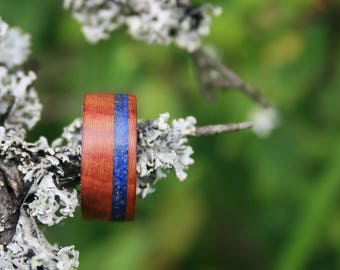 Wood Ring - Plum Wood  with lapis lazuly inlay, wooden ring
