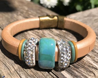 Champagne  100% Liquorice Leather Bracelet with Green and Gold Ceramic Stone