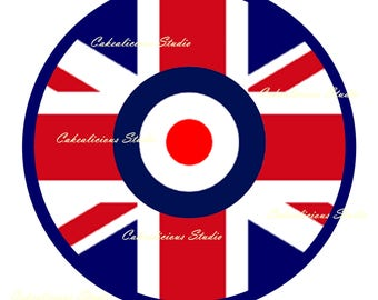 Edible Icing Sheet MOD Union Flag Cake Topper 7.5'' Round