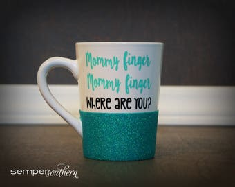 Mommy finger - Daddy finger - YouTube song - glitter coffee mug - Funny coffee mug