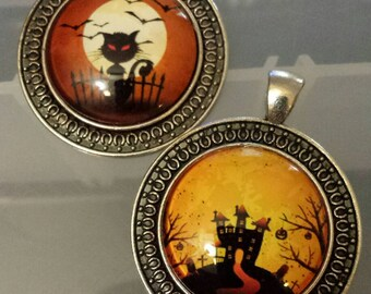 2 haunted house black cat  Halloween creepy   glass cabochon pendants  stash reduction clearance p99