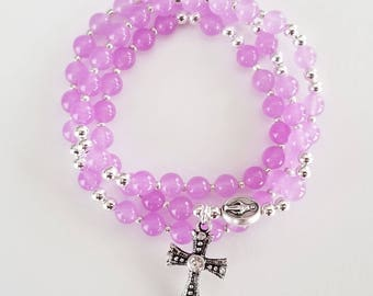 Translucent Purple Jade Stretch Rosary Bracelet