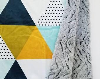 Modern Triangle Minky Blanket, Baby Boy Blanket, Minky Blanket, Geometric Baby Blanket, Boy Minky Blanket, Toddler Minky Blanket, Baby Gift