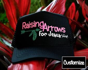 Raising Arrows for Jesus Customizable Trucker Hat / mesh, Christian hat, Christian apparel, women's hat, women's trucker hat, Christian Cap
