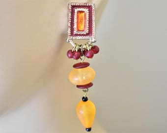 Vintage Geometric Beaded Dangle Statement Earrings Red Yellow Gold Tone Boho Retro Costume Jewelry 2.5""