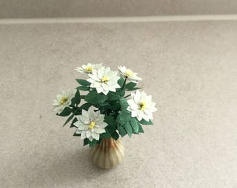 Dolls House Flowers, 1/12th Pot Plant, Dolls House Miniature Flowers, 1/12th Scale